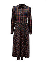 Женское платье в клетку миди с длинным рукавом