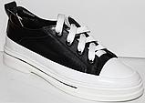 Кроссовки кожаные женские на шнурках от производителя модель КЛ2053, фото 6