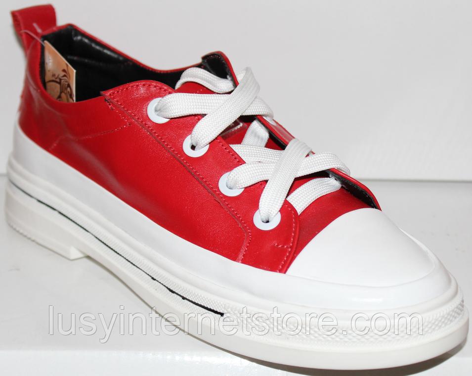Кроссовки кожаные женские на шнурках от производителя модель КЛ2053