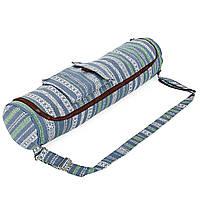 Сумка для йога коврика Yoga bag KINDFOLK FI-8362-3 (размер 17смх72см, полиэстер, хлопок, серый-синий)