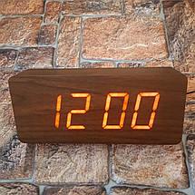 Цифровые Настольные Деревянные Часы С Подсветкой (красные цифры) (Живые фото), фото 3