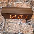 Цифровые Настольные Деревянные Часы С Подсветкой (красные цифры) (Живые фото), фото 2