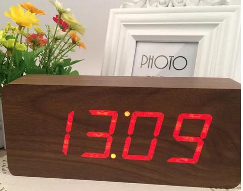 Цифровые Настольные Деревянные Часы С Подсветкой (красные цифры) (Живые фото)