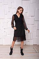 Женское черное нарядное платье на запах из сетки в точку S