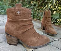 Кожаные женские ботильоны закрытые туфли ботиночки 193110 35