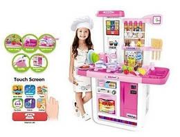 Детская большая интерактивная кухня с водой из крана, сенсорный экран холодильника Bambi WD-A23 розовая
