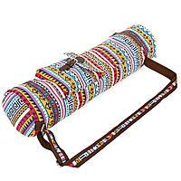 Сумка для йога коврика Yoga bag FODOKO FI-6972-5 (размер 16смх70см, полиэстер, хлопок, оранжевый-голубой)