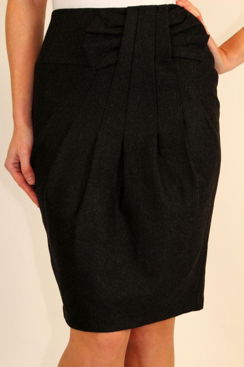 Стильная теплая юбка с бантиком на кокетке 44-46 р