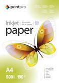 Фотобумага PrintPro матовая 190г/м, A4 PM190-500
