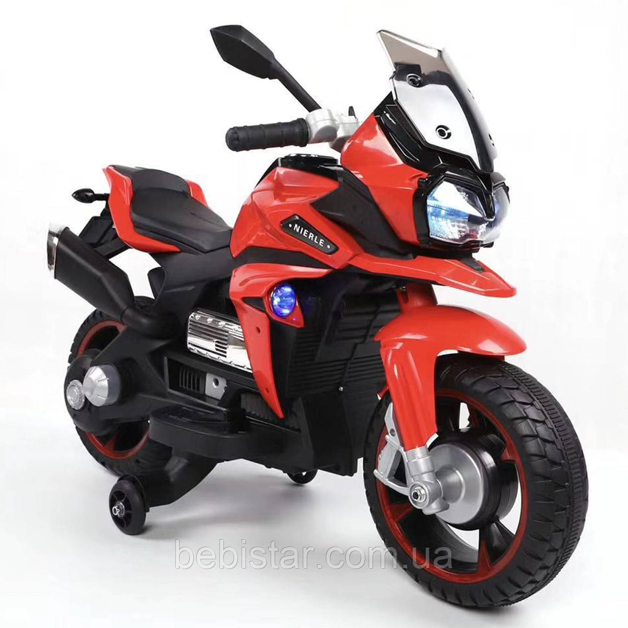 Мотоцикл акумуляторний дитячий червоний від 3-х до 6-ти років світяться фари розмір 97х65х53см