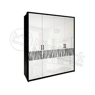 Шкаф Терра 4 дв без зеркал Белый Глянец-Черный Мат ТМ Миро-Марк