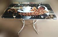 Стеклянный стол с кофейным принтом на чёрном фоне