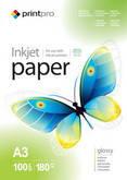 Фотобумага PrintPro глянцевая 180г/м, A3 PG180-100