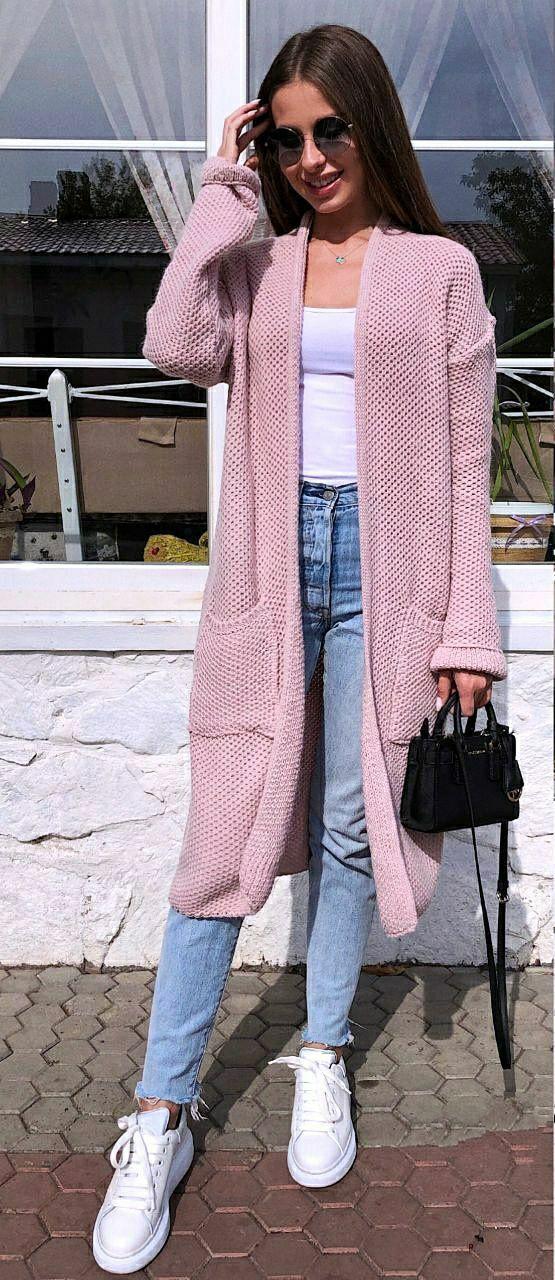 Жіночий в'язаний кардиган з вовною з кишенями і без застібки 9kz207