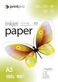 Фотобумага PrintPro матовая 190г/м, A3 PM190-100