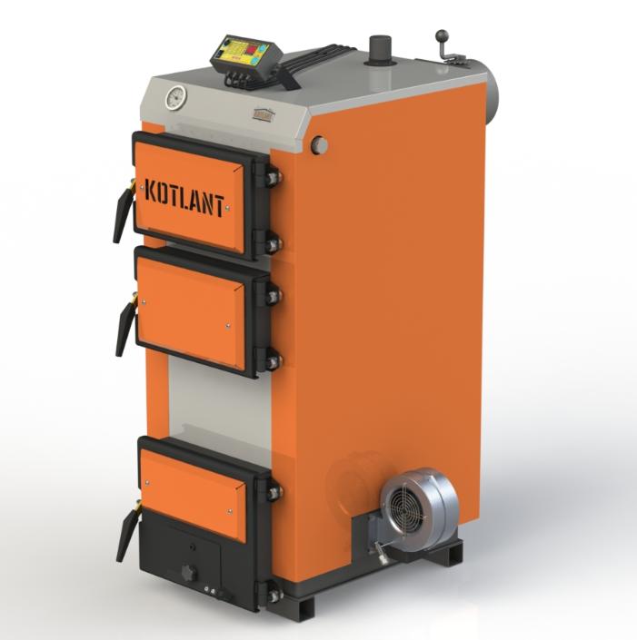 Твердопаливний котел тривалого горіння Kotlant КГ 17 кВт з електронною автоматикою та вентилятором