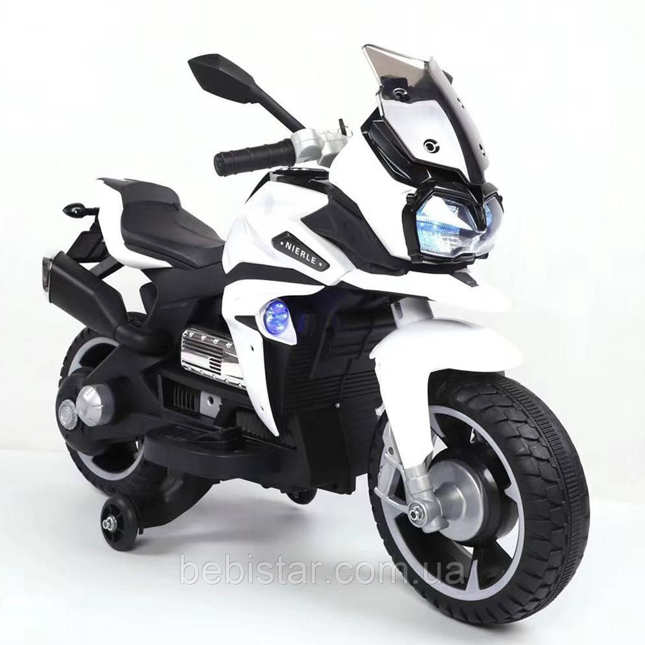 Мотоцикл акумуляторний дитячий білий від 3-х до 6-ти років світяться фари розмір 97х65х53см