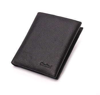 Мужской кожаный маленький кошелек, бумажник, кошелек на магните, портмоне Cardinal, черный