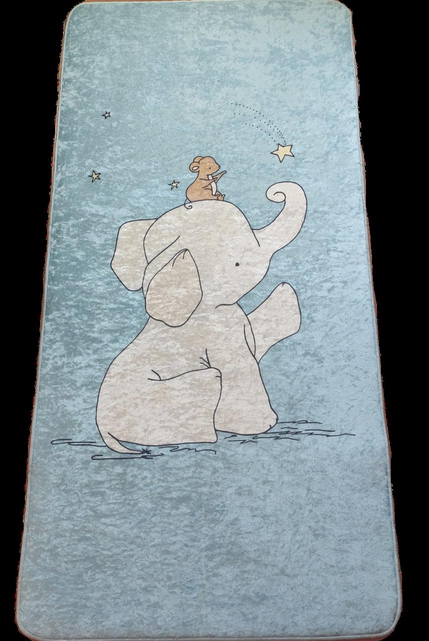 Детский коврик 70*140 см Турция Слоненок голубой