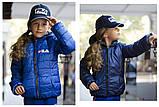 """Куртка двухсторонняя детская с капюшоном на змейке """"Fila"""" плащевка+силикон 150 для девочки рост:122-152 см, фото 4"""
