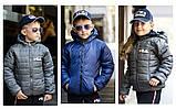 """Куртка двухсторонняя детская с капюшоном на змейке """"Fila"""" плащевка+силикон 150 для девочки рост:122-152 см, фото 6"""