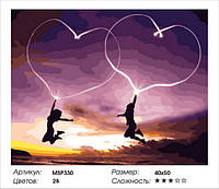 """Набір для малювання за номерами 40х50 """"Єднання двох сердець"""" MSP330 (з підрамником)"""