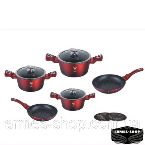 Набор посуды Top Kitchen с мраморным покрытием (красный)