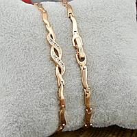Жіночий позолочений браслет Xuping 17х0.5 см вага 5.4 р білі фіаніти позолота 18К, фото 1