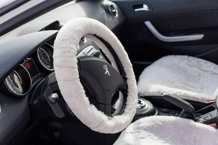 Купить Оплетка на руль шерсть (Белый)