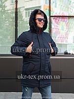 Мужские зимние куртки-парки на меху   44-54 синий с красным