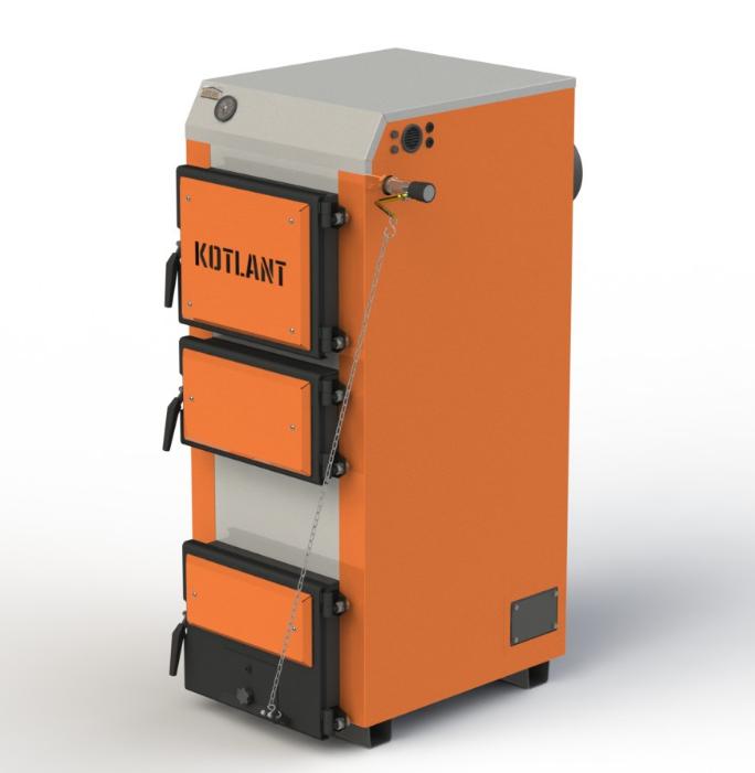 Твердотопливный котел длительного горения Kotlant КГ 22 кВт с механическим регулятором тяги