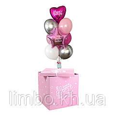 Коробка сюрприз на День Рождения в розовом цвете