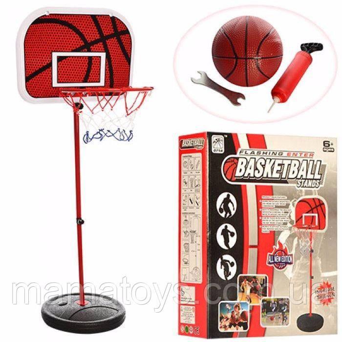 Детское Баскетбольное кольцо на стойке M 2995 Высота 105 см - 139 см щит, сетка, мяч, насос