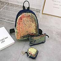 РЮКЗАК 3В1 для девочки распродажа застегивается на змейку Сумка ПЕНАЛ косметичка эко-кожа+поетка модный