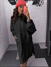 Женское платье туника худи с капюшоном и карманом