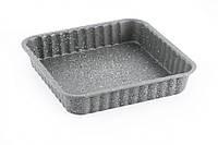 Форма для выпечки пирога квадратная 24x24x4,5 см (углеродистая сталь с антипригарным покрытием)