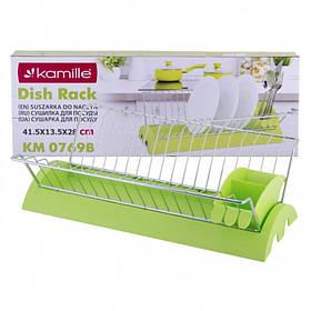Сушилка для посуды Kamille 41,5 х 26 х 11,5 см с поддоном Зеленая KM-0769В