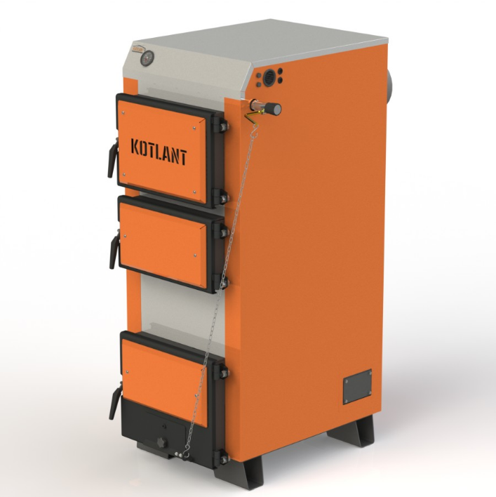 Твердотопливный котел длительного горения Kotlant КГ 30 кВт с механическим регулятором тяги