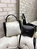 Большая женская сумка на плечо с косметичкой белая с черным шоппер брендовая модная кожзам, фото 1