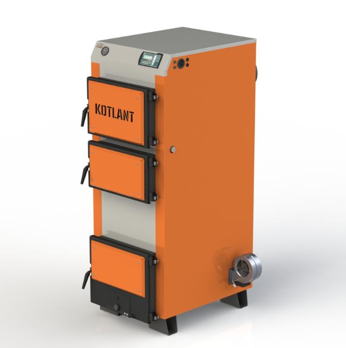 Твердопаливний котел тривалого горіння Kotlant КГ 40 кВт з електронною автоматикою та вентилятором
