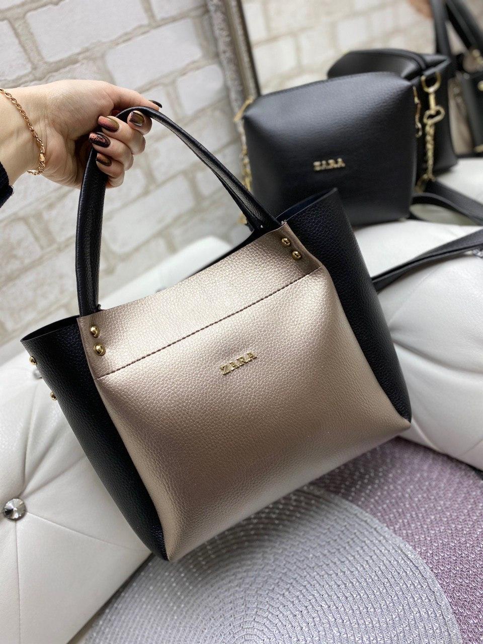 Велика жіноча сумка на плече з косметичкою бронзова брендовий модна кожзам