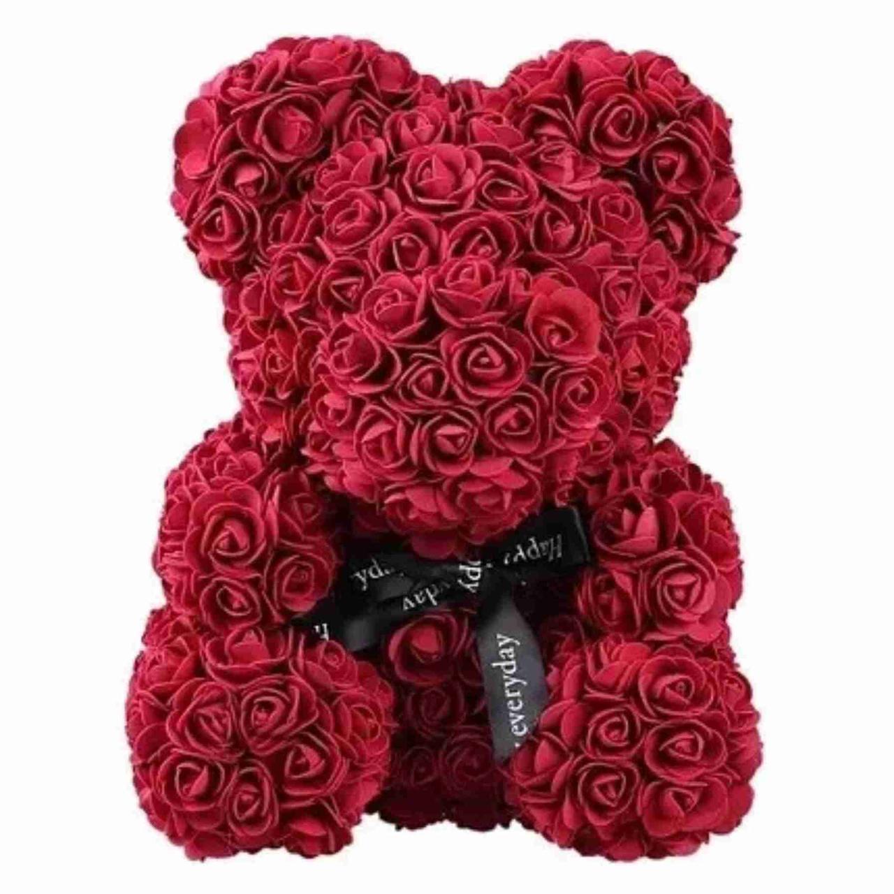 Мишка из 3D роз высотой 25см / Мишка из 3D роз Zupo Crafts 25 см Бордовый