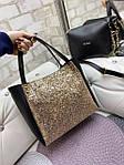 Большая женская сумка на плечо с косметичкой брендовая черная с блестками кожзам