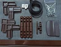 Набор комплект для сборки дверной москитной сетки на петлях коричневый с импостом
