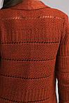 Отличный молодежный кардиган ажурной вязки  с шарфом теплый из шерсти, фото 8