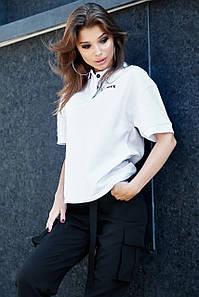 Пряма вільна жіноча однотонна футболка-поло (1625.4250-4244-4242 svt)