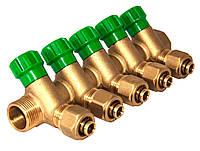 """Гребенка коллекторная 1""""x16*2.0 5 выходов зеленые вентили ASCO Armatura"""