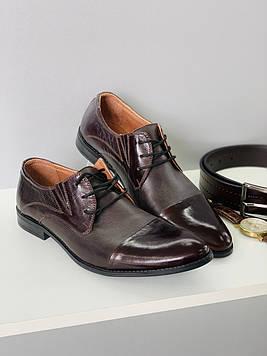 Туфли мужские Slat Collection / Коричневые кожаные туфли