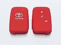 Силиконовый чехол на смарт ключ Toyota тип1 красный