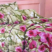 """""""Розовые цветы""""Постельное белье полуторный размер 150/210 см. две наволочки 70/70 см. """"Беларусь"""""""